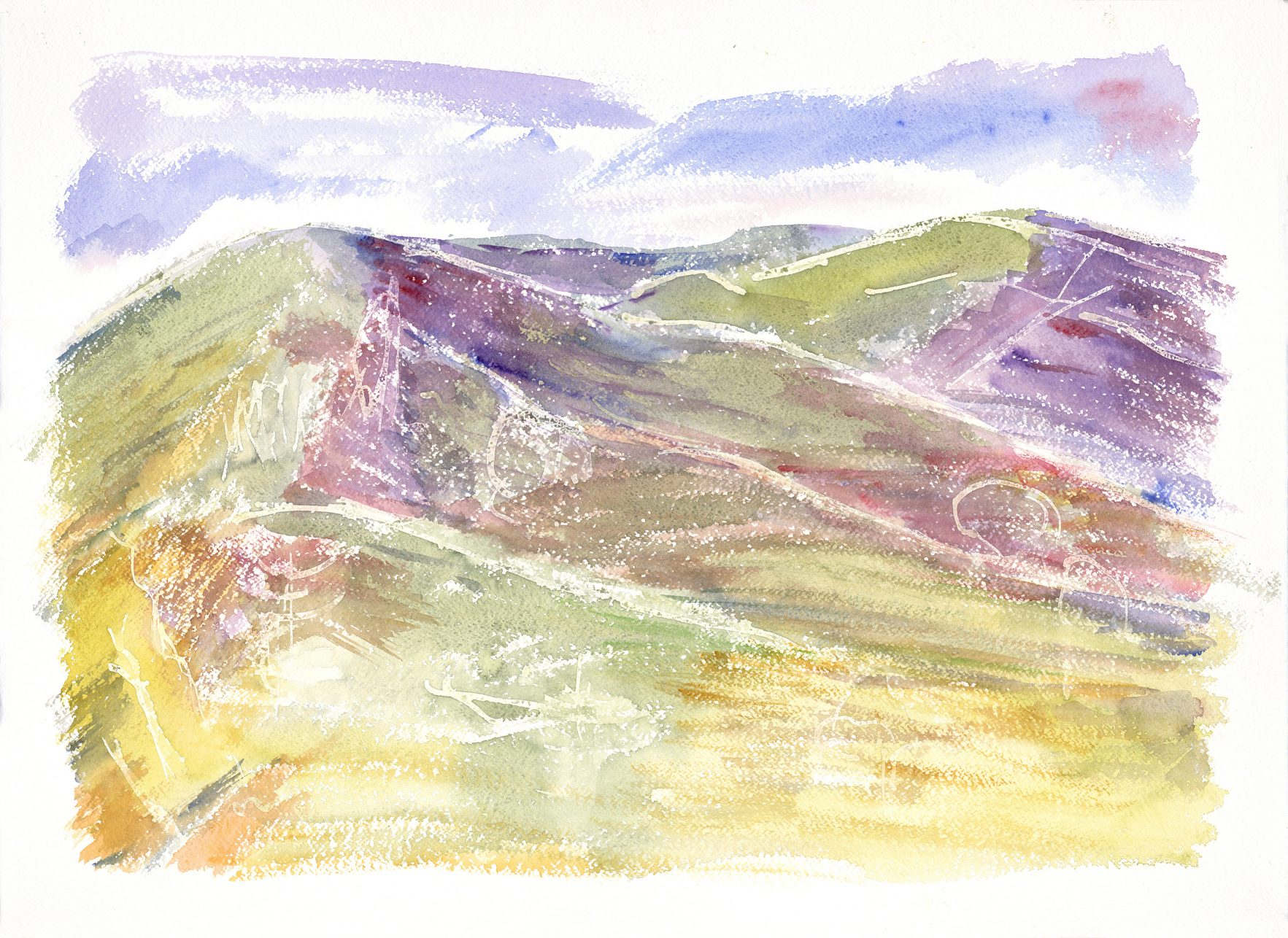 Water-colour painting of mountains